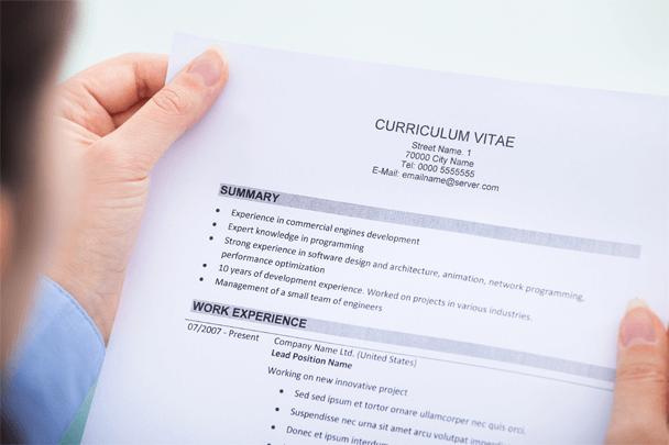 Image of a dummy CV