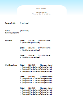 Wonderful Clean CV Template Throughout Cv Document
