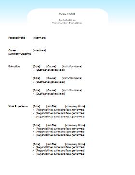clean cv template
