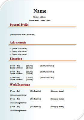 Design CV Template  Cv Document