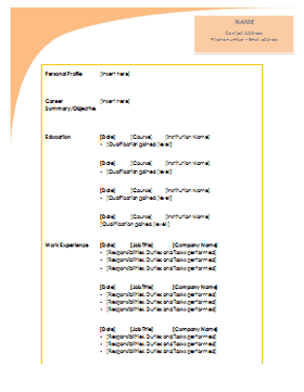 free cv template to download