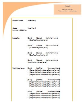 free cv template download
