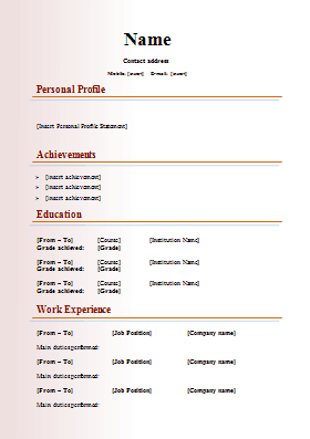 short resume format download - Short Resume Template
