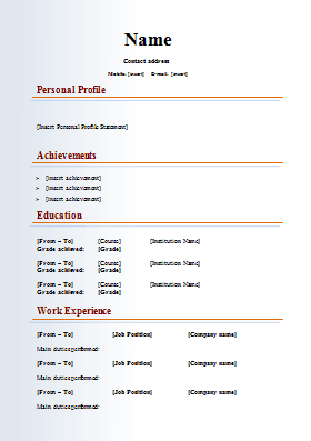 curriculum vitae word format - Resume Sample Format In Word