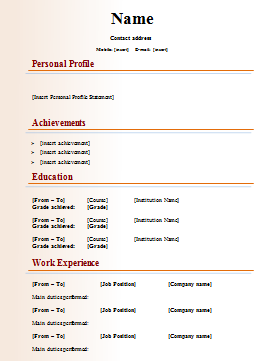 Publishing CV Template  Download Resume Templates For Microsoft Word