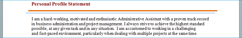 cv personal profile statement filled in