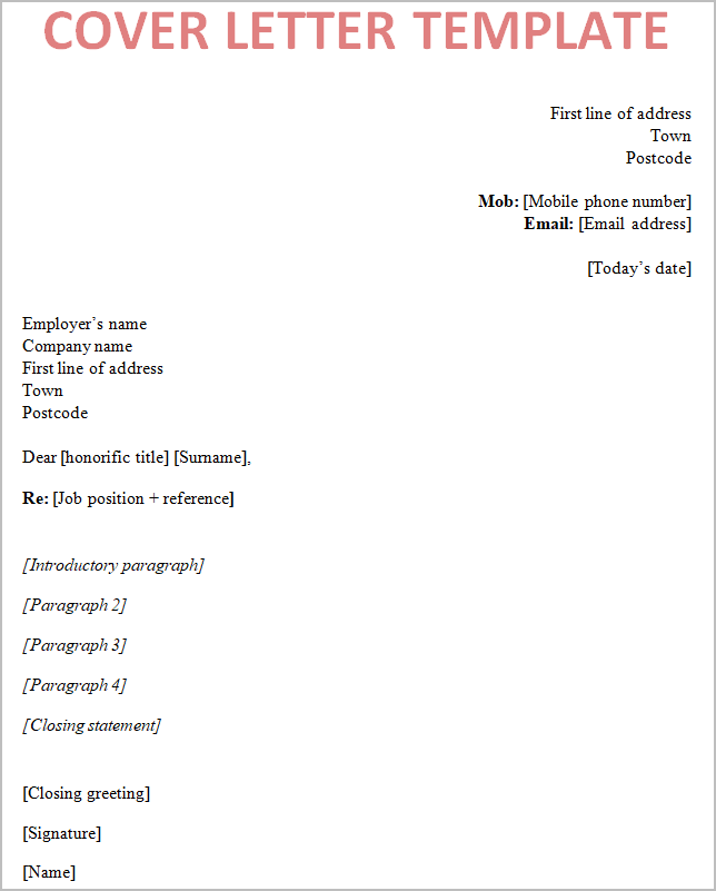 Writing Great Cover Letters: Cover-letter-template-uk