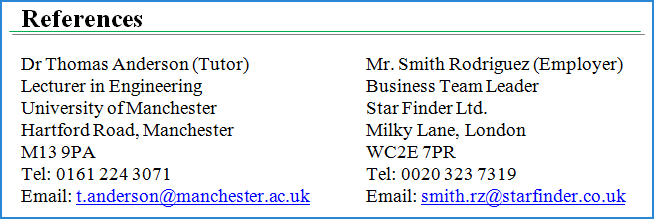 Preview of a good example of how to write references on a CV