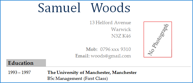 Example showing a CV where some applicants place the photograph