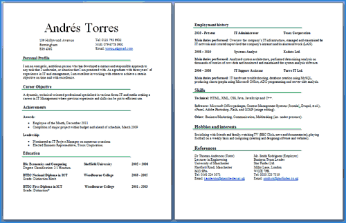 sample 2 page resume