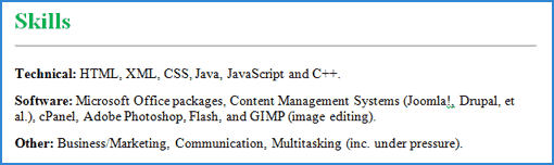 it skills example on a cv - Skills Section Of Resume