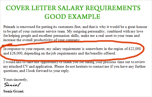 Example Salary Requirement On Cover Letter