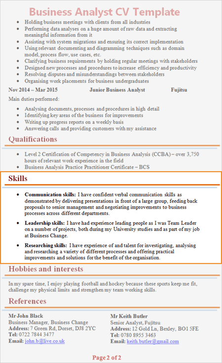Skills Section On Cv