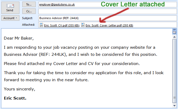 Cover Letter Attached With Email
