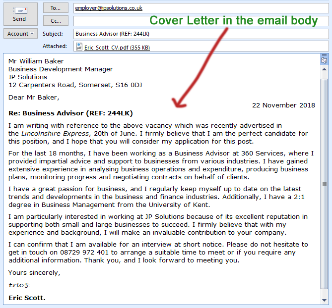 Cover Letter In Body Of Email