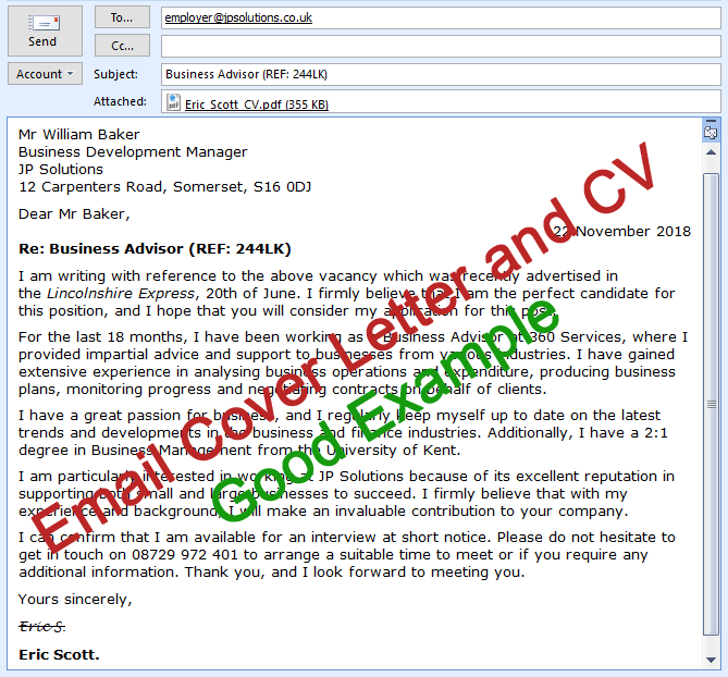Email Cover Letter And Cv Sending Tips And Examples Cv Plaza