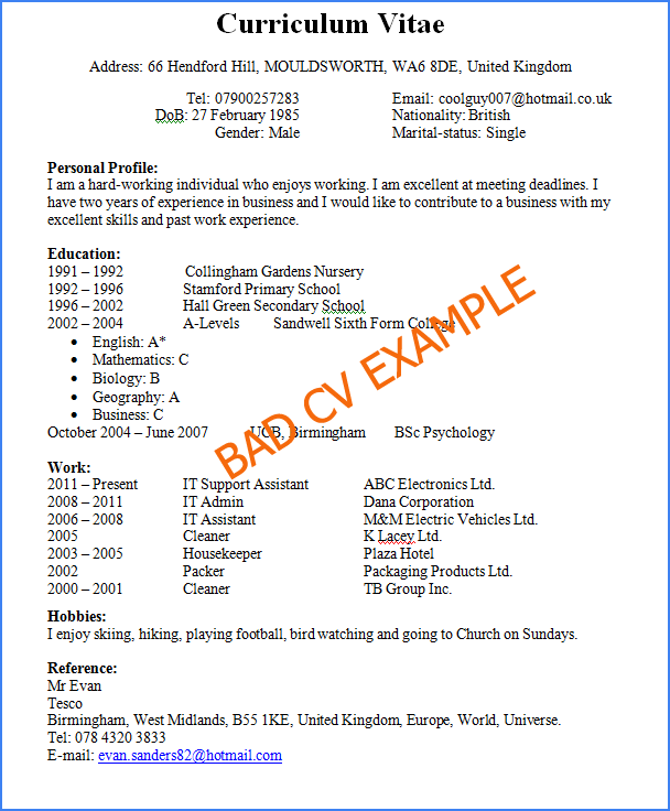 preview of a bad and horrible cv example and how not to write a cv