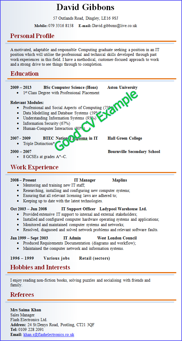 Example Of A Good CV:  Resume Examples 2013