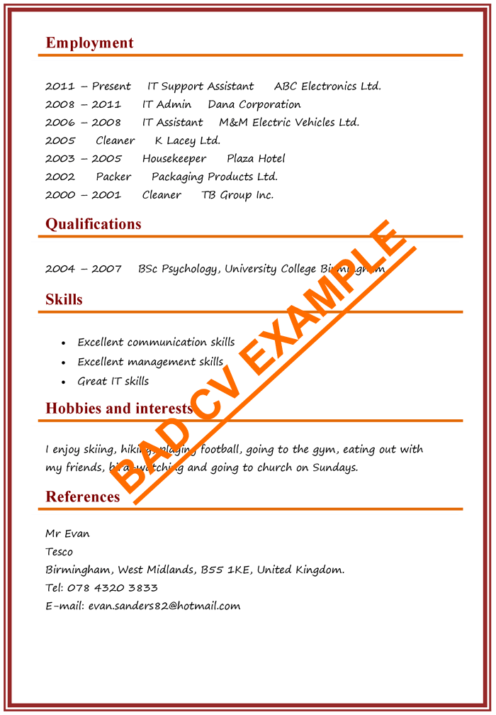 Cv Examples Example Of A Good Cv Biggest Mistakes To Avoid