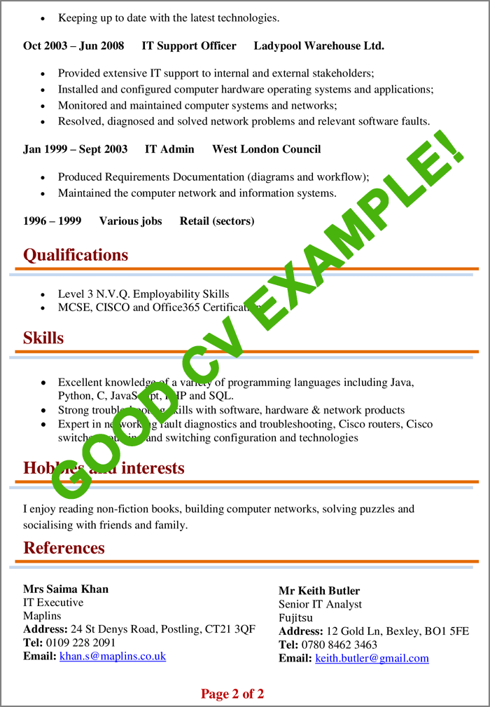 Example of a good CV 2