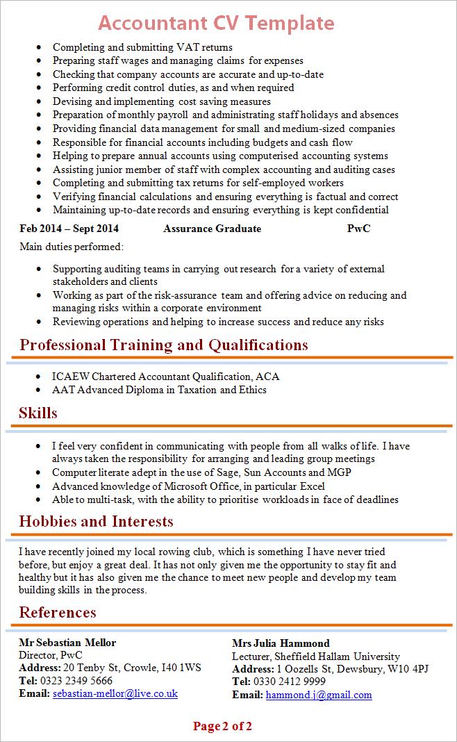 Finance CV examples 2
