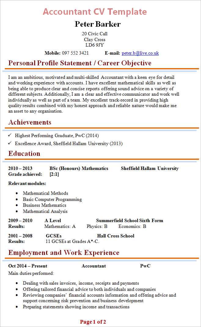 Finance CV examples
