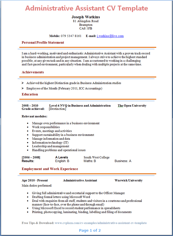 Administrative Assistant CV Template Tips and Download CV Plaza – Resume Template for Administrative Position