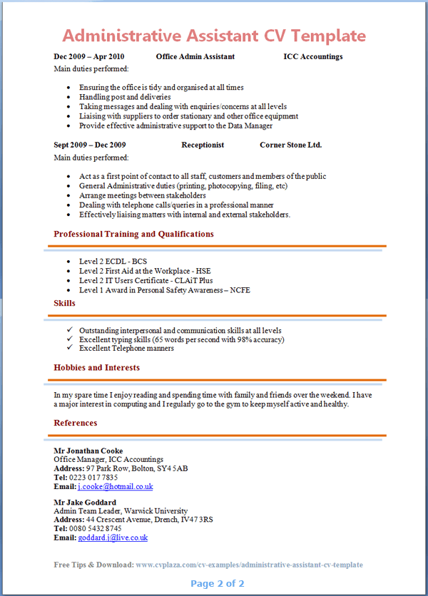 administrative assistant cv template page 2 preview - Administrative Assistant Resume Sample