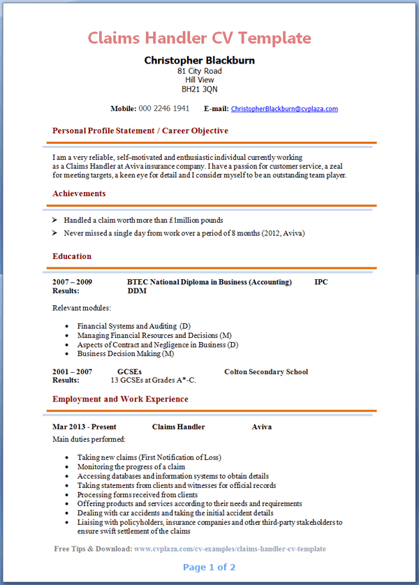 claims handler cv template page 1