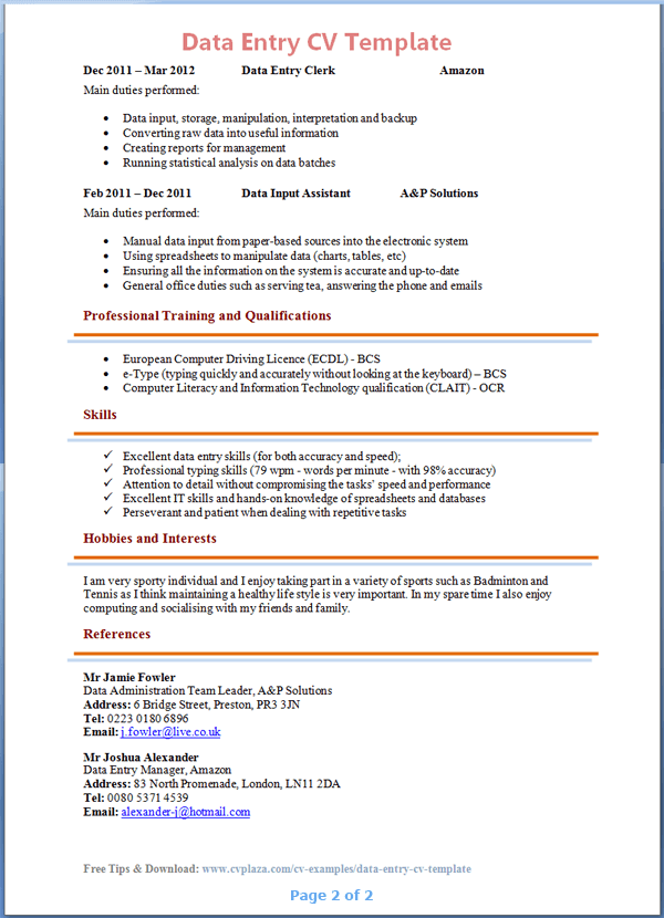 data entry cv template tips and download cv plaza