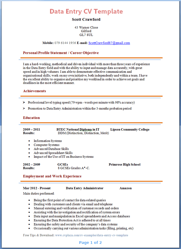 Data Entry CV Template + Tips and Download – CV Plaza