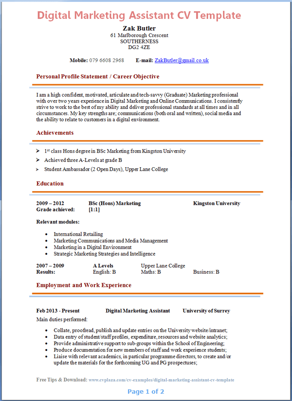 marketing assistant cv sample marketing assistant resume - Marketing Resume Template