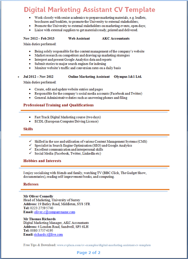 Digital Marketing Resume Samples digital marketing resume 7 free ...