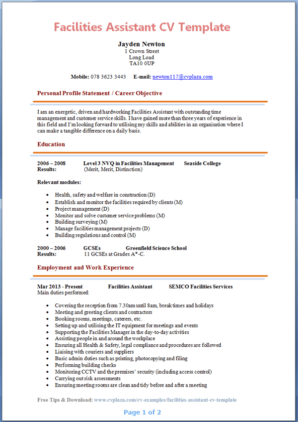 Beautiful Facilities Assistant CV Example Preview Page 1