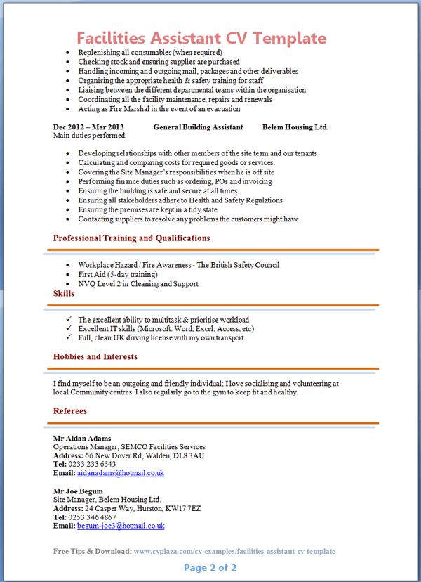 Facilities Assistant CV Example Preview Page 2