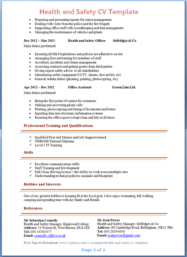 Health and safety cv template tips and download cv plaza health and safety advisor cv example 2 yelopaper Images