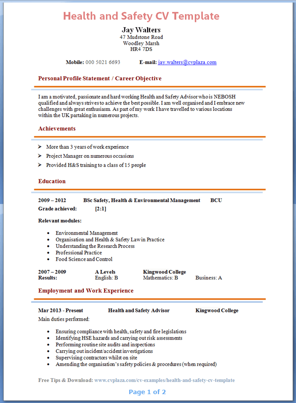 health and safety cv template tips and download cv plaza