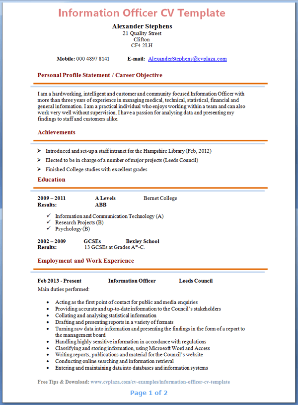 References for resumes hatchurbanskript information officer cv template tips and download cv plaza yelopaper Gallery