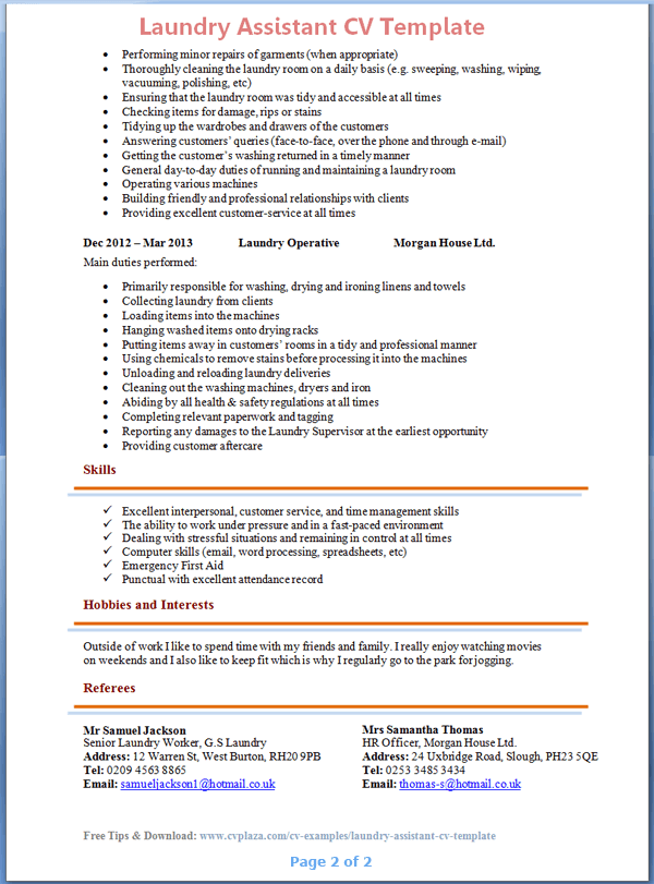Laundry-Worker-CV-Template-2