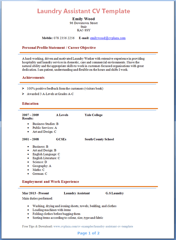 Nice Laundry Assistant CV Template