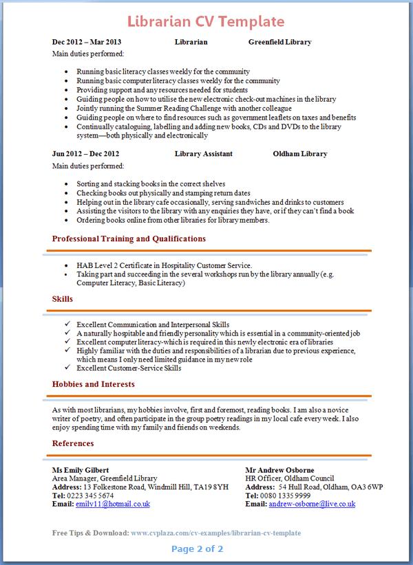Librarian CV Template  Tips and Download - CV Plaza