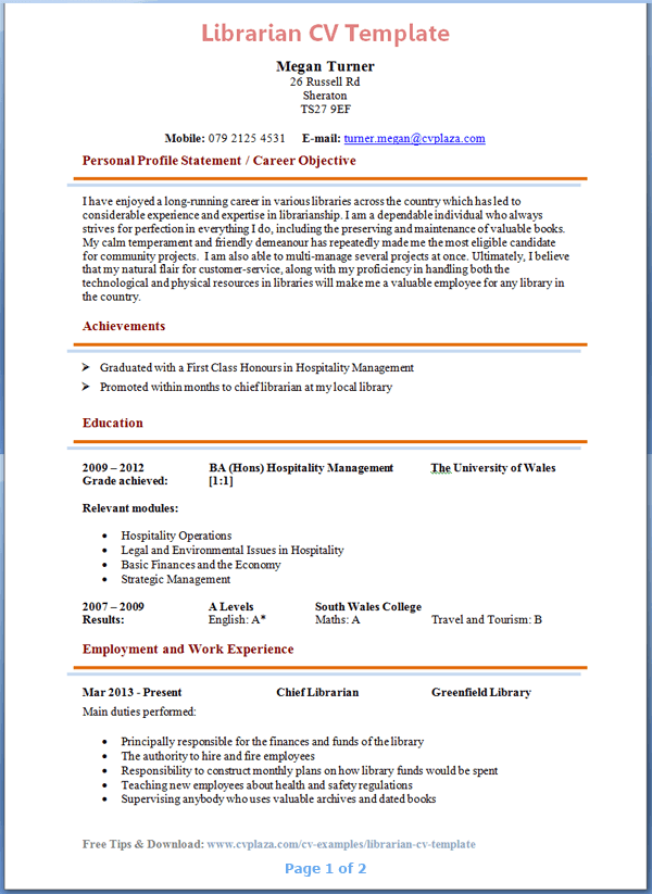 librarian cv - Library Resume Sample