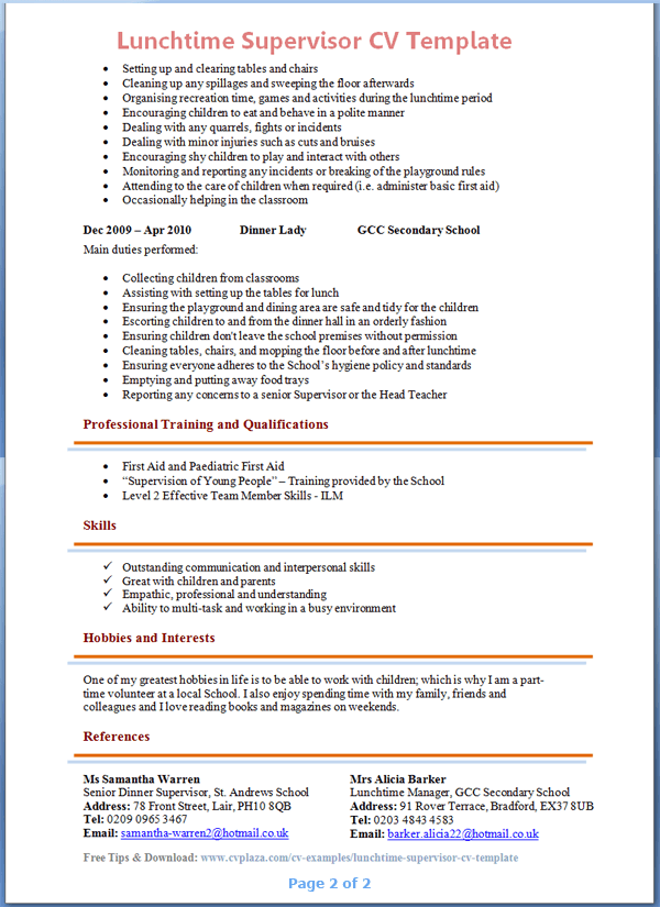 Lunchtime Supervisor CV Template Tips and Download CV Plaza