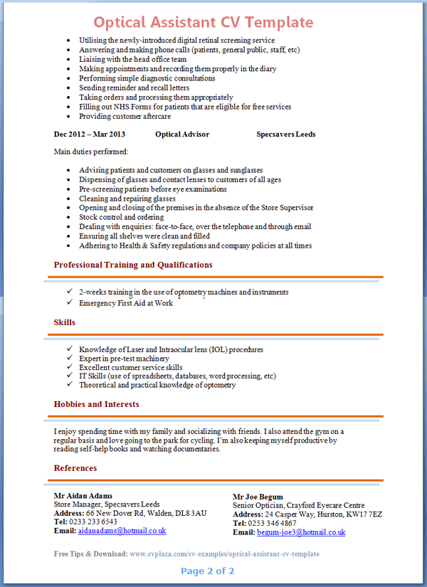 dispensing optician resume sle bestsellerbookdb