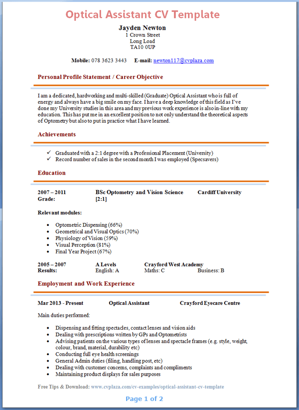 Optical Assistant Cv Example
