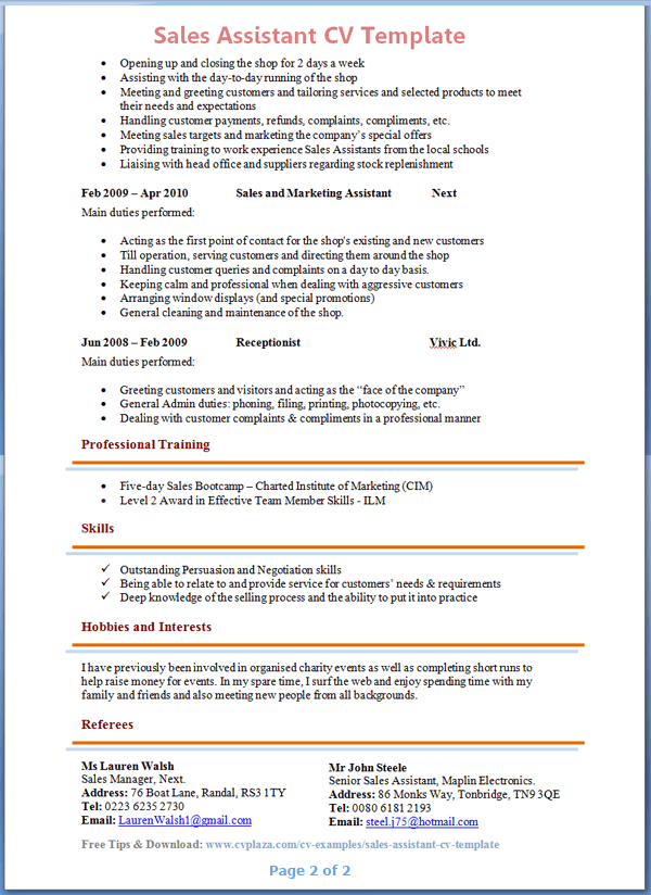 cv template retail sales assistant april onthemarch co