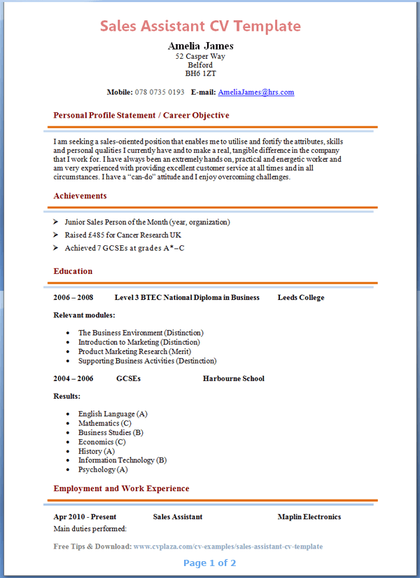 sales assistant cv template tips and download cv plaza