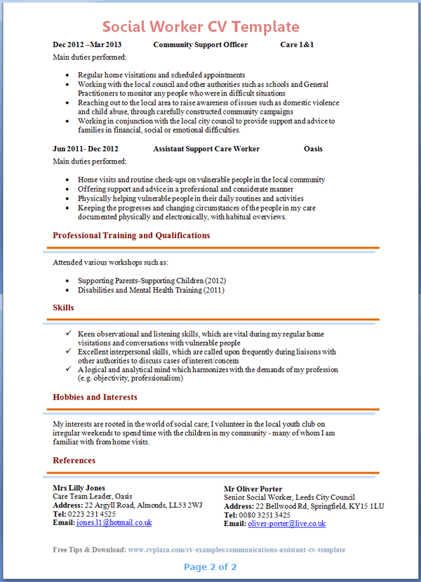 sample social work resumes