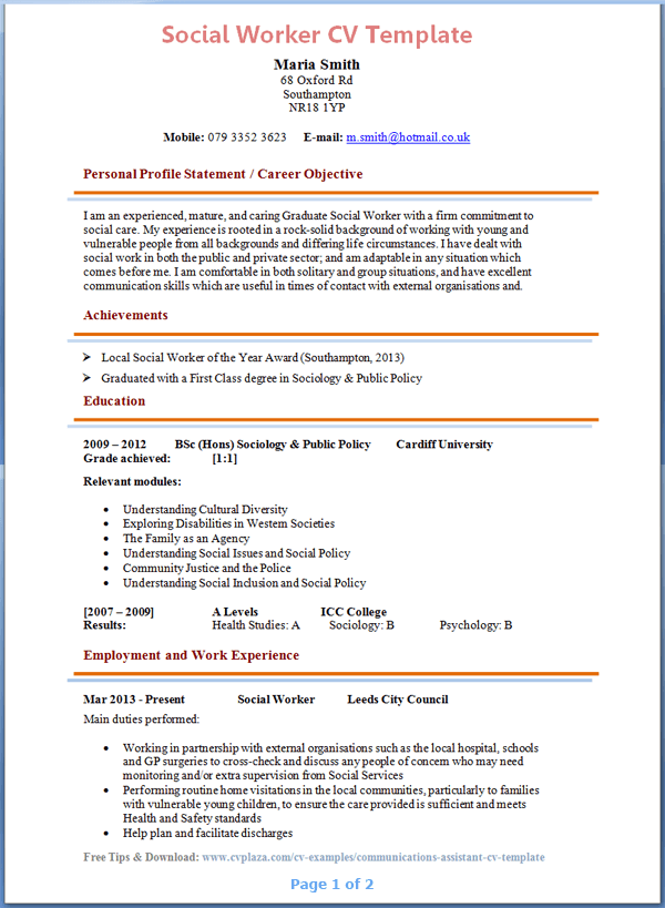 good personal statement resume - Social Worker Resume Examples