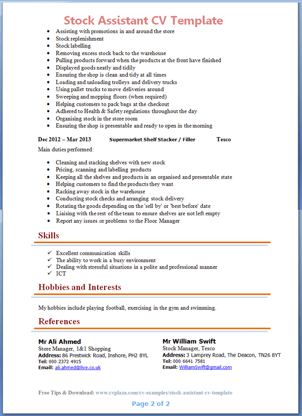 stock assistant cv template tips and download cv plaza